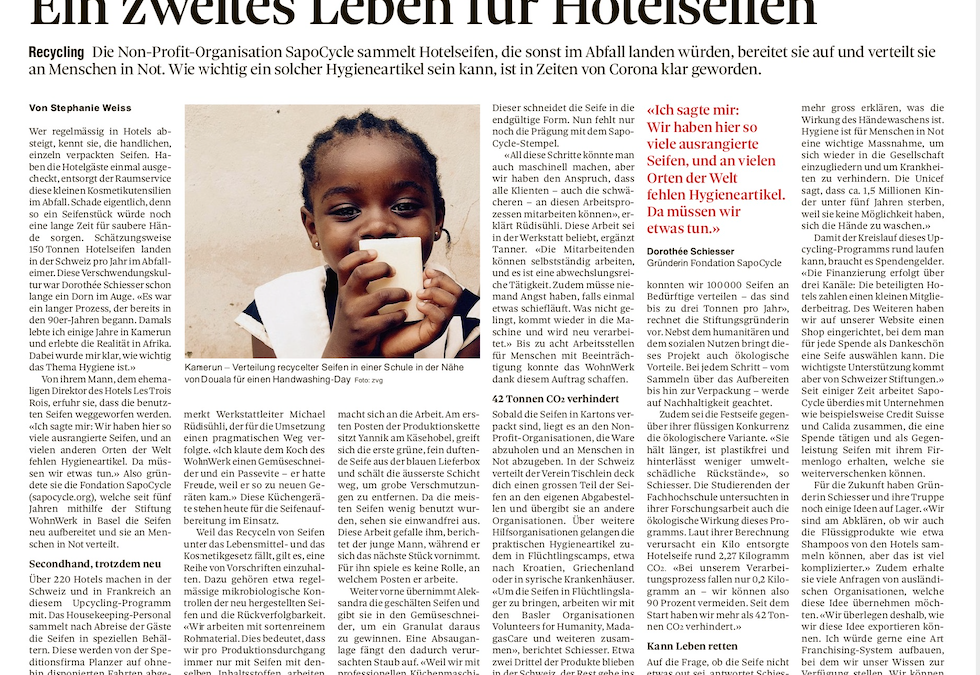 A second life for used hotel soaps, says the Basler Zeitung