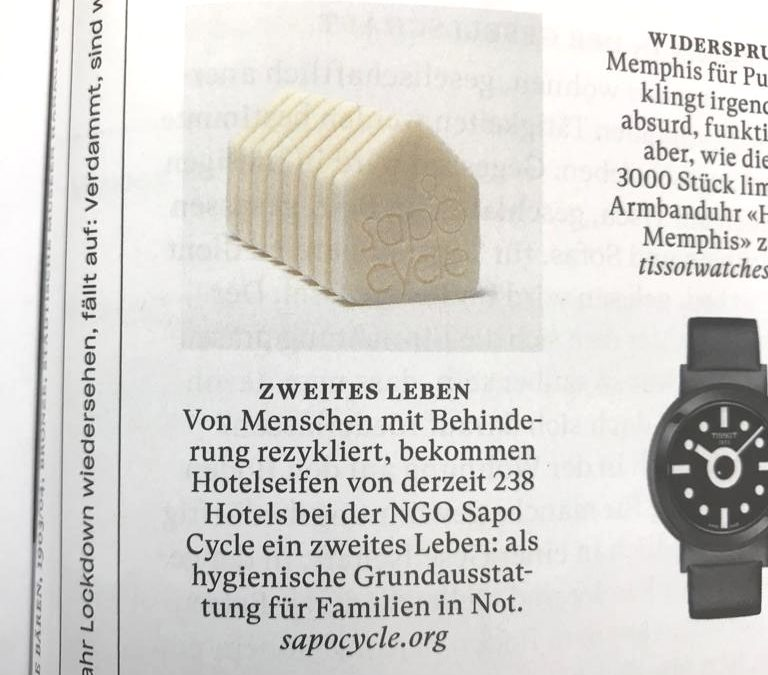 And our cute Façade from the Hüüsli recycled soap collection on NZZ am Sonntag